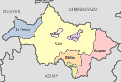Cantons of Cañar Province