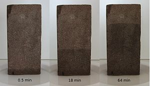 Capillary action - Capillary flow in a brick, with a sorptivity of 5.0 mm·min−1/2 and a porosity of 0.25.