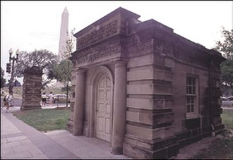 Aquia Creek sandstone - Capitol gatehouse and gatepost in Washington, DC, USA, composed of Aquia Creek sandstone  (Charles Bulfinch, ca. 1829)