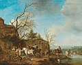 Carel van Falens (Attr.) - A riding party taking refreshments in a river landscape.jpg