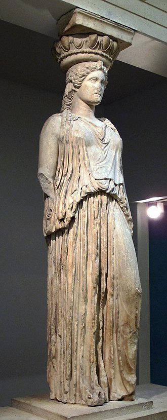 Caryatid - A caryatid from the Erechtheion, standing in contrapposto, displayed at the British Museum