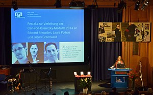 Glenn Greenwald - Snowden, Poitras and Greenwald have been announced as the recipients of the 2014 Carl von Ossietzky medal.