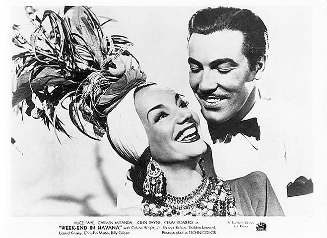Carmen Miranda and César Romero in Week-End in Havana (1941).jpg
