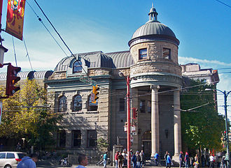 Vancouver Agreement - The corner of Main and Hastings, in front of the Carnegie Centre, was physically redesigned under the Vancouver Agreement to help deter open drug dealing.