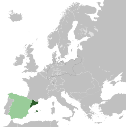 Location of the Catalan State within Europe.
