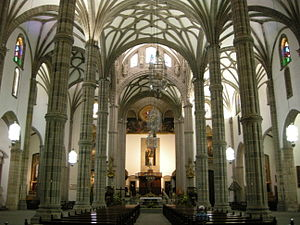 Las Palmas Cathedral - Interior view, demonstrating the piers as imitation palm trees.