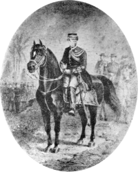 Drawing depicting a figure in military dress uniform and kepi mounted on a black horse with marching and mounted figures in the background