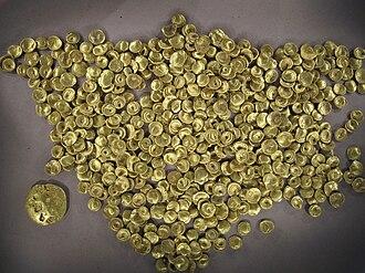 Oppidum of Manching - A hoard of Celtic coins (Regenbogenschüsselchen) found at Manching. See below: Important finds.