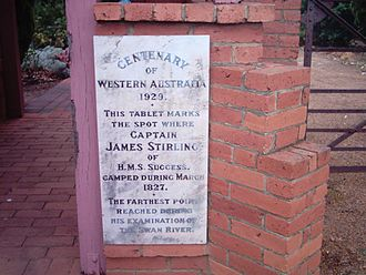 Henley Brook, Western Australia - Tablet to mark site of farthest inland exploration 1827