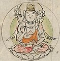 Center figure detail, 真言諸尊図像抄-Scroll from the Compendium of Iconographic Drawings (Zuzōshō) MET DP234949 (cropped) (cropped).jpg
