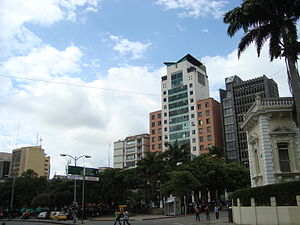 Bucaramanga - Downtown Bucaramanga, Santander Park, and the Triad building.