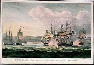 French ship Jean-Jacques Rousseau (1795) - HMS ''Centurion'' repelling Marengo at the Battle of Vizagapatam (the battle occurred at a far greater range than depicted).