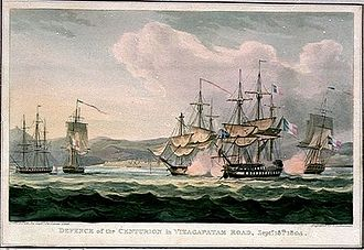 Linois's expedition to the Indian Ocean - Defence of the Centurion in Vizagapatam Road, Septr. 15th 1804, Engraving by Thomas Sutherland after a painting by Sir James Lind