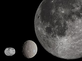 Asteroid - The largest asteroid in the previous image, Vesta (left), with Ceres (center) and the Moon (right) shown to scale.