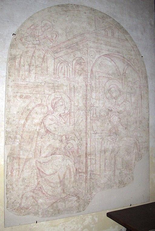 Certaldo alta, santi Tommaso e Prospero,  sinopia quattrocentesca con Annunciazione