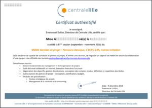 Certificat délivrant un ECTS du MOOC GdP