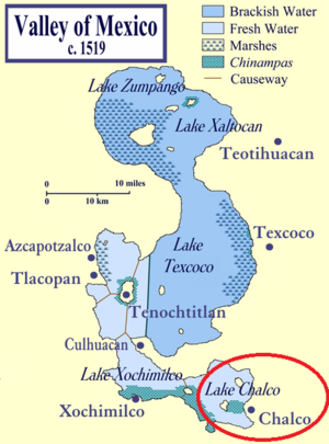 Chalco de Díaz Covarrubias - The red circle shows where Chalco was located, when the Lake of Texcoco still existed