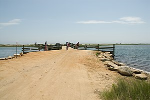 Chappaquiddick incident - The Dike Bridge, Chappaquiddick, pictured here in 2008 with a guardrail, which might have prevented the accident if it had been in place in 1969
