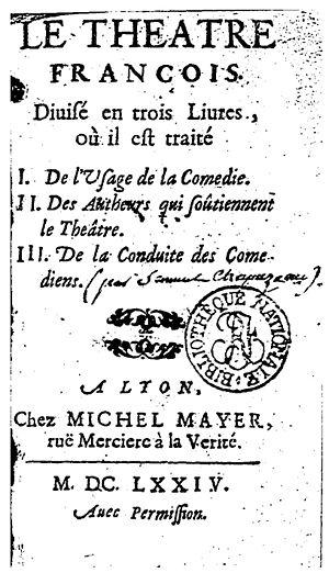 Le Théâtre François - Title page of the 1674 edition
