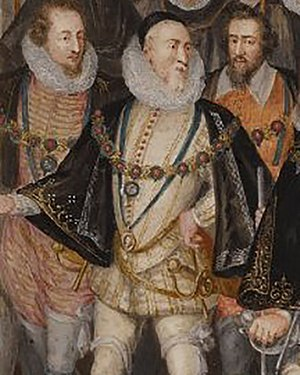 Charles Howard, 1st Earl of Nottingham, Lord High Admiral, shown here c. 1601 in a procession for Elizabeth I of England, was patron of the Admiral's Men during Marlowe's lifetime. Charles Howard, 1st Earl of Nottingham Procession Portrait detail.jpg