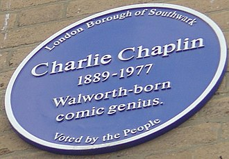 East Street Market - Charlie Chaplin blue plaque at the entrance to East Street market