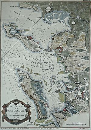 HMS Magnanime (1748) - 1757 chart of Basque Roads