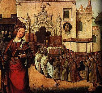 Eleanor of Viseu - The Arrival of D. Leonor with the Relics of Santa Auta at Madre de Deus by Cristóvão de Figueiredo.
