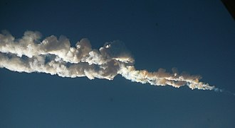 2013 in science - 15 February 2013: a 10-ton meteoroid (atmospheric trail pictured) impacts Chelyabinsk, Russia, injuring over 1,200 people. At the time, it is the most destructive meteor to strike Earth since 1908.