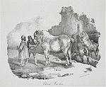 Cheval cauchois, lithographie par Théodore Géricault, 1822.