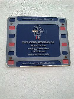 Photo of first moving picture show, Chichester film cell plaque