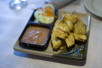 "Peanut sauce - Satays are commonly served with peanut sauce, therefore it is often called ""satay sauce""."