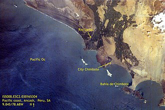Santa River - Satellite image showing the mouth of the Santa River near Chimbote