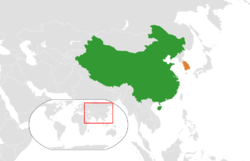 Map indicating locations of China and South Korea