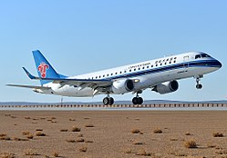 China Southern Airlines Embraer 190 (B-3145) at Fuyun Koktokay Airport.jpg