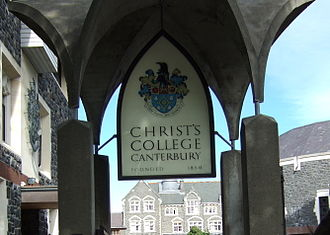Christ's College, Christchurch -  Christ's College Entrance, Administration block to the left, Old Boys' Theatre to the right and School House in the centre background