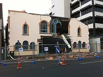 2010 Canterbury earthquake - The facade of the Repertory Theatre was extensively damaged