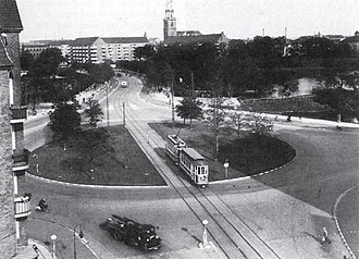 Christmas Møllers Plads - The roundabout shortly after it was built in 1932