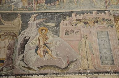 Church of Saint George in Staro Nagorichino, George slaying the dragon.jpg