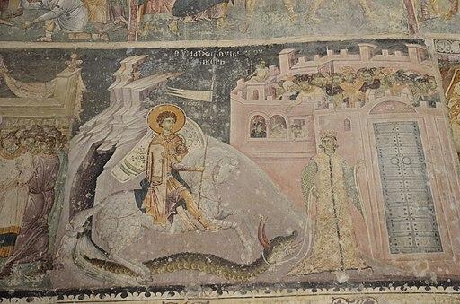 Church of Saint George in Staro Nagorichino, George slaying the dragon