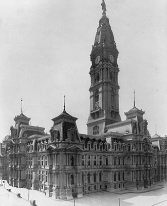 John McArthur Jr. - Philadelphia City Hall (built 1874-1901). When completed, this was the tallest occupied building in the world, surpassed in height only by the Washington Monument (7 feet / 2.1 meters taller) and the Eiffel Tower (515 feet / 157 meters taller). It remains the world's tallest all-masonry occupied building.