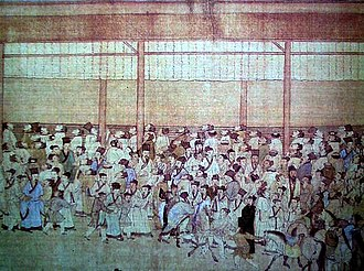 "Imperial examination - Candidates gathering around the wall where the results are posted. This announcement was known as   ""releasing the roll"" (放榜). (c. 1540, by Qiu Ying)"