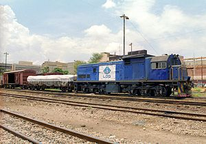 "South African Class 35-000 - No. 35-041 in NLPI Logistics livery with the cabside's ""Spoornet"" painted over, Lusaka, Zambia, 12 November 2008"