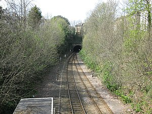 Clifton Down railway station - The Clifton Down Tunnel is just to the east of the station. The tunnel was opened to freight in 1877, and to passengers in 1885.