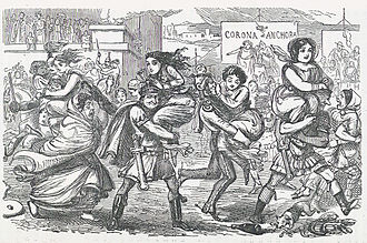 "John Leech (caricaturist) - A scene from Leech's Comic History of Rome, depicting the Rape of the Sabine Women. The women are portrayed in Victorian costume being carried off from the ""Corona et Ancora"" (""Crown and Anchor"", a common English pub sign in seafaring towns)"