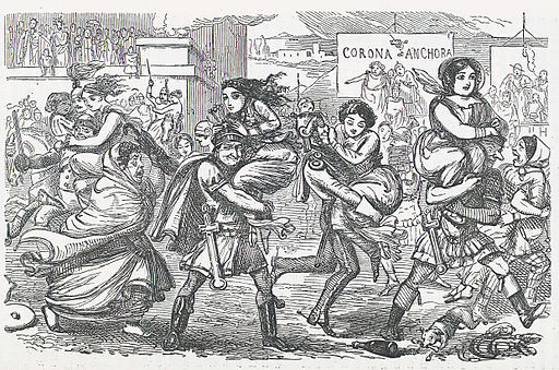 Comic History of Rome p 010 The Romans walking off with the Sabine Women