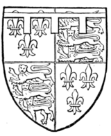 Fig. 721.—Henry of Monmouth, afterwards Henry V.: France (modern) and England quarterly, a label of three points argent. (From his seal.)