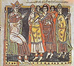 Reccared I and bishops during Council III of Toledo, 589. Codex Vigilanus, fol. 145, Biblioteca del Escorial Concil Toled.jpg