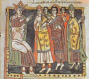 Councils of Toledo - Reccaredo I and bishops. Council III of Toledo, 589. Códice Vigilano, fol. 145, Biblioteca del Escorial.