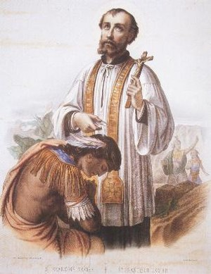 Francis Xavier - Conversion of the Paravars by Francis Xavier in South India, in a 19th-century colored lithograph