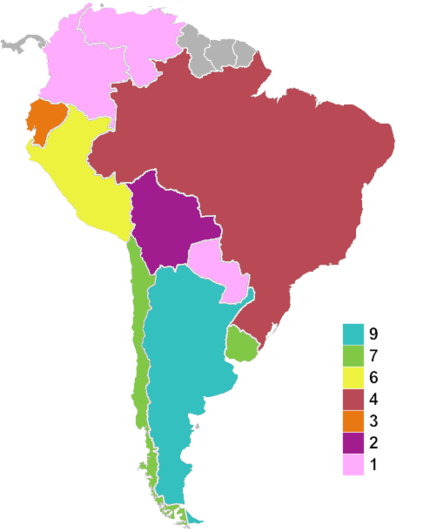 Map of countries' times hosted as of 2015. Copa America hosts.PNG